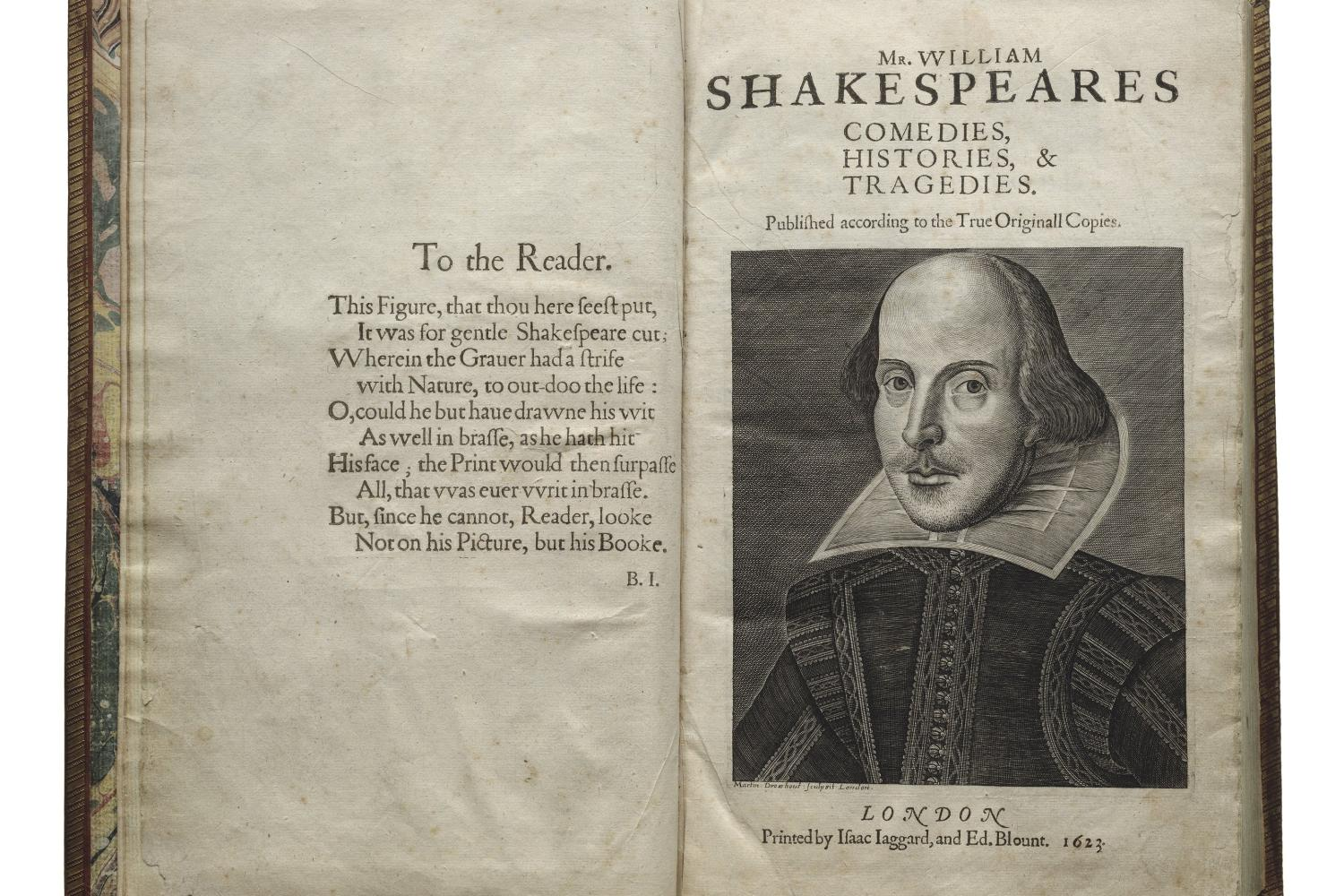 Title page of First Folio with illustration of William Shakespeare.