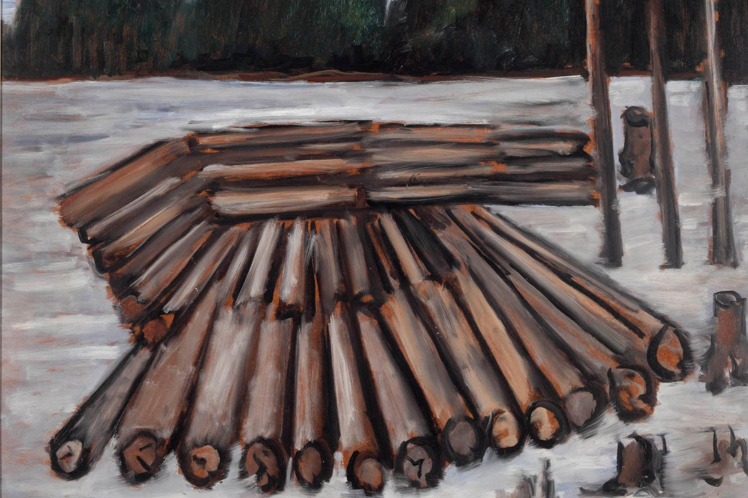 stylized painting of a stack of logs