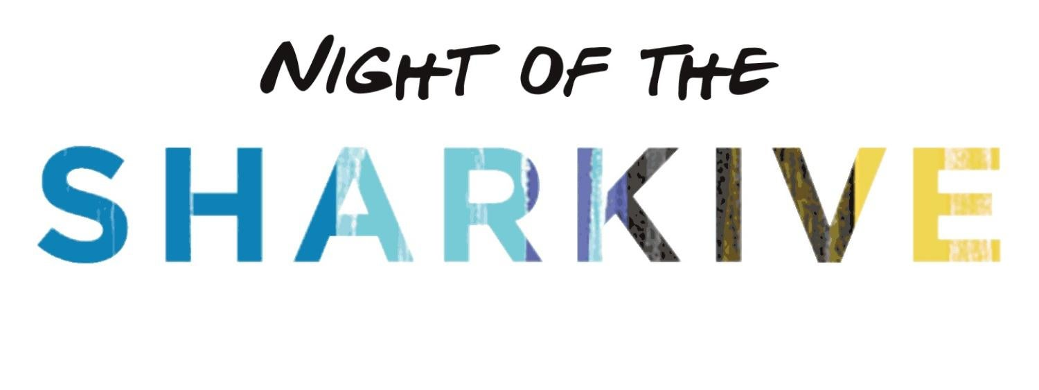 """Text that reads """"Night of the Sharkive"""""""