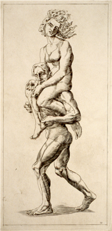 A print of two people, a woman and a man, in which the woman is sitting on the shoulders of the man who is carrying her while he walks. The woman's hair is blown backwards, and she is only wearing a bra, while the man is only wearing underwear.