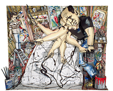 Framed 3-D assemblage, male figure with cigarette and holding paintbrush, male figure on left standing on step stool and holding camera, female figure center background, paintings, frames, paint buckets and brushes.