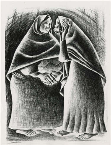 A black and white print of two women, both wearing dresses and shawls over their heads. Neither is wearing shoes. The one on the left has her hands clasped, while the one on the right is cupping one hand up to her ear.