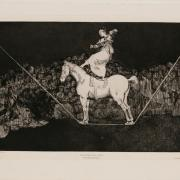 A black and white print depicting a woman standing on a horse