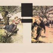 Image includes two sections, the left depicts two girls falling into a river, the right depicts two black men being executed by firing squad