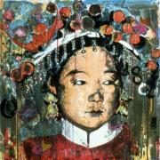Highly stylized painting of a Chinese woman in a traditional headdress