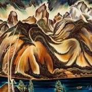 Highly stylized painting of mountains