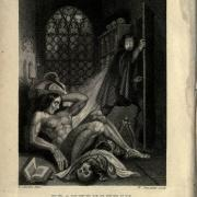 Engraving of the doctor seeing his monster