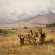 Painting of four burros in western landscape