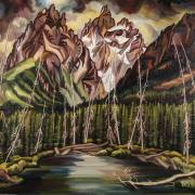 An expressionist painting of mountains and pine trees