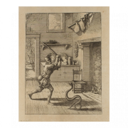 A print of a man striking a snake in front of a fireplace