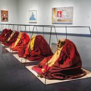 Installation view of the exhibition Anonymous: Contemporary Tibetan Art, in the CU Art Museum, on view February 14 – April 4, 2015, © CU Art Museum, University of Colorado Boulder