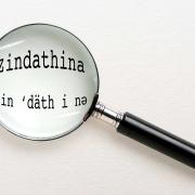 "Magnifying glass over text ""zindathina"""