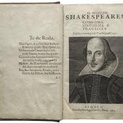 Title page of the Shakespeare's first folio with an illustration of William Shakespeare.