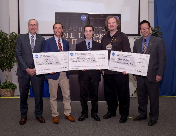 Cubequest Competitor Team Representatives with NASA Administrators