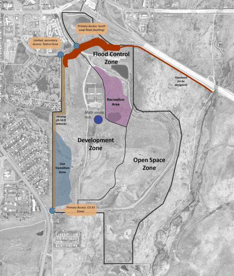 Map and concept plan of CU Boulder South