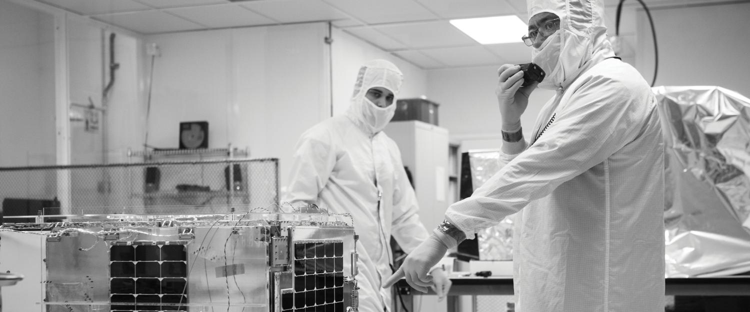 SkySat-1 undergoing final testing in Skybox's clean room