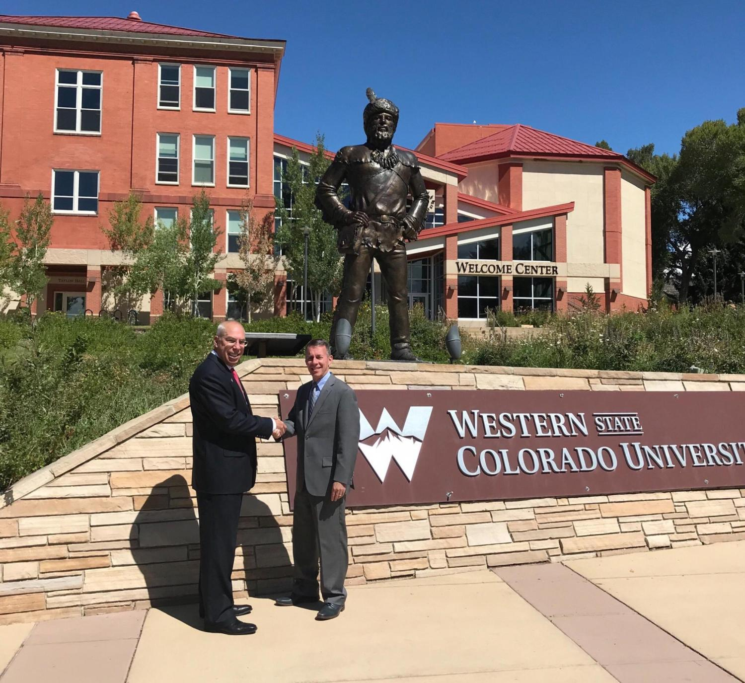 Western Colorado University President Greg Salsbury, left, and Dean Bobby Braun at WCU.