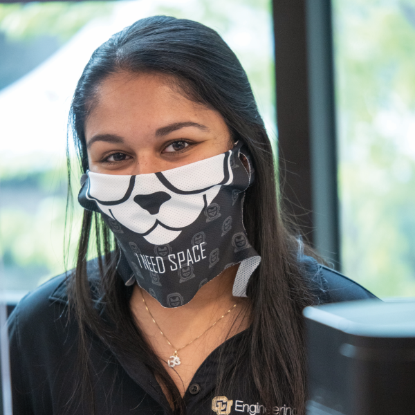 Masked girl at the engineering center