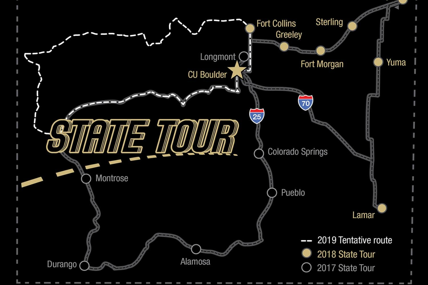 Dean's state tour map