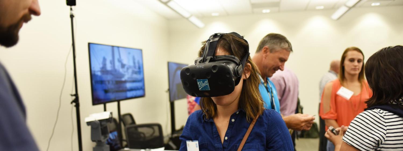 A virtual reality demonstration at Ball Career Day.