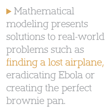 """Mathematical modeling presents solutions to real-world problems such as finding a lost airplane, eradicating Ebola or creating the perfect brownie pan."""