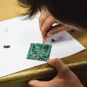 A student works on a microchip