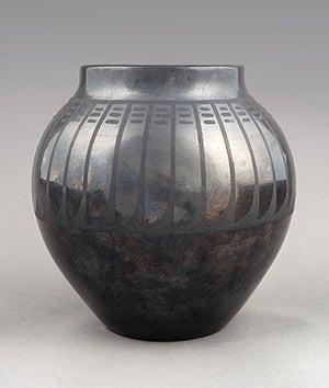 pot with black on black design