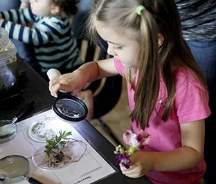 Girl looking at plants with magnifying glass