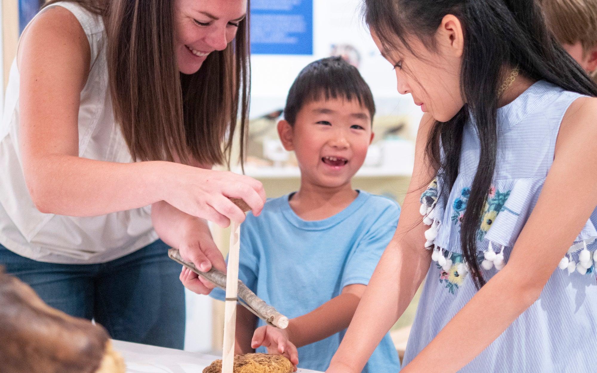Volunteer helping child