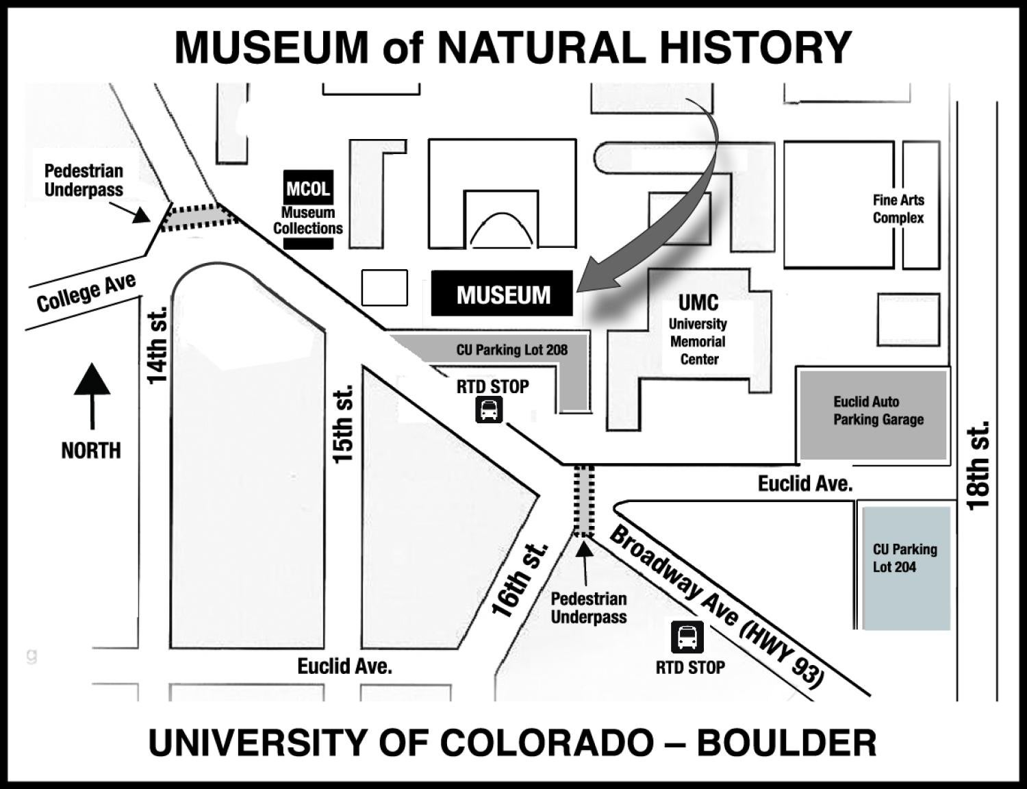 Map of campus showing the Museum of Natural History labelled