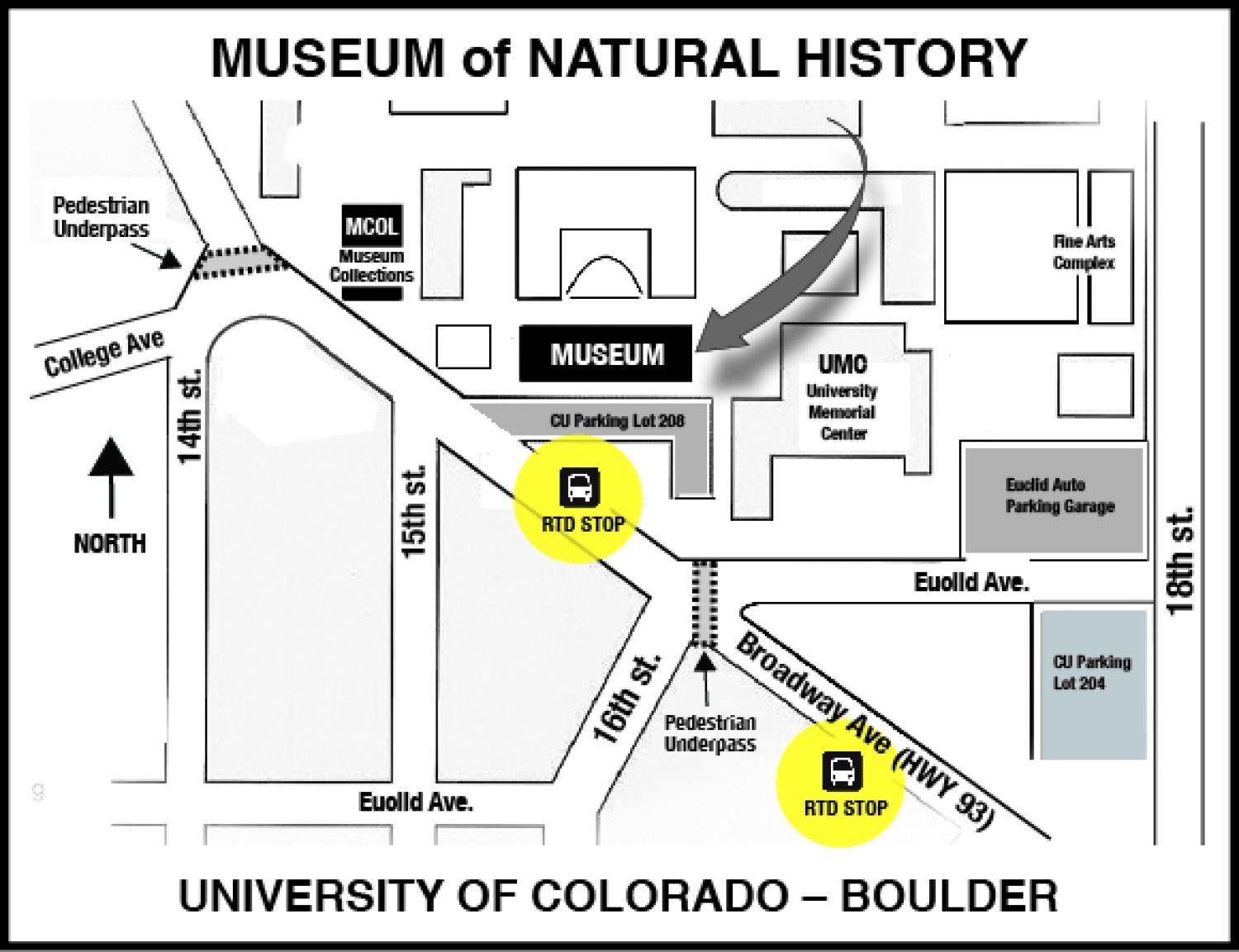 Map of campus with the Natural History Museum and highlighted RTD bus stops