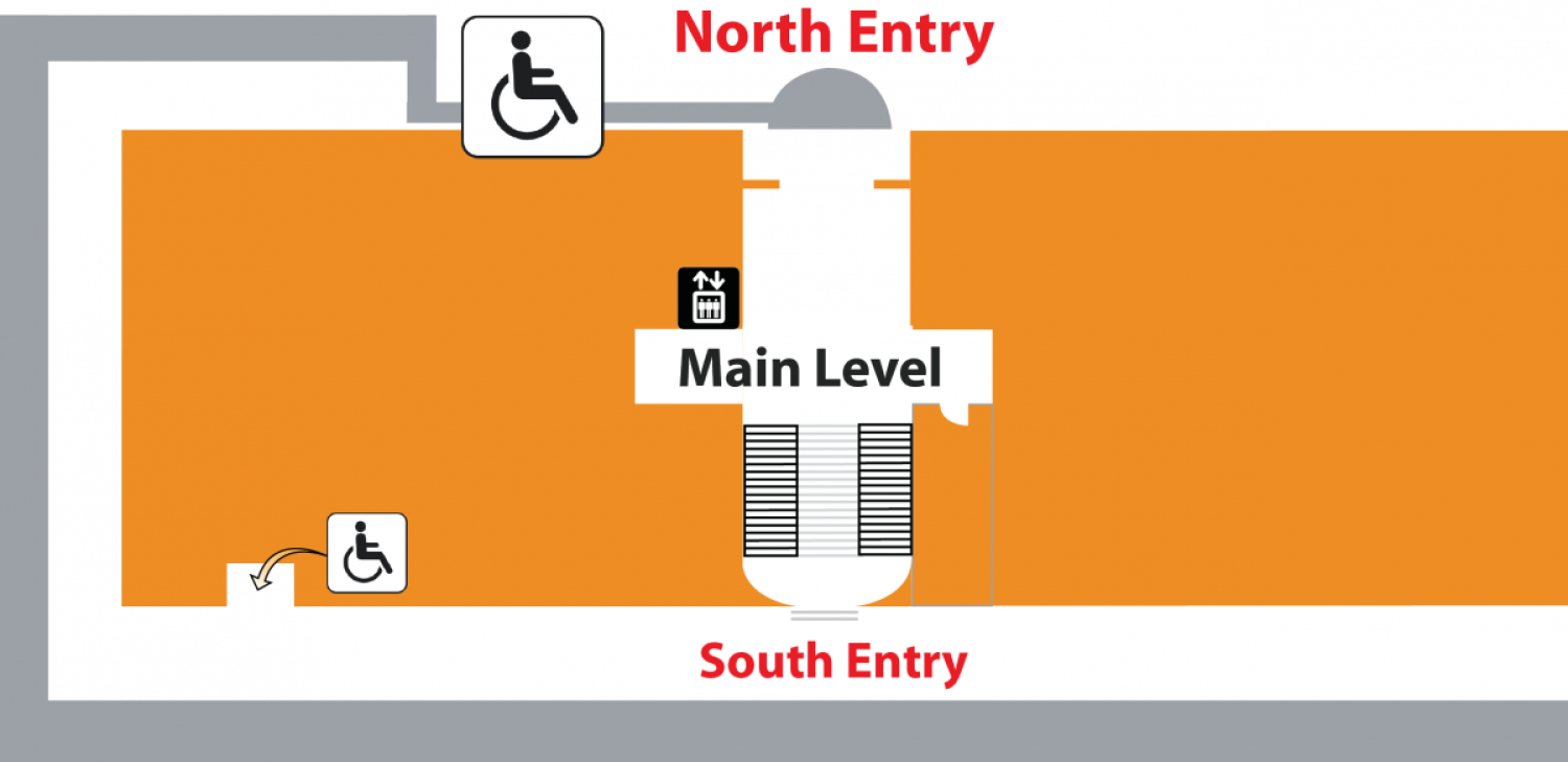 Map of inside museum showcasing wheel chair access points