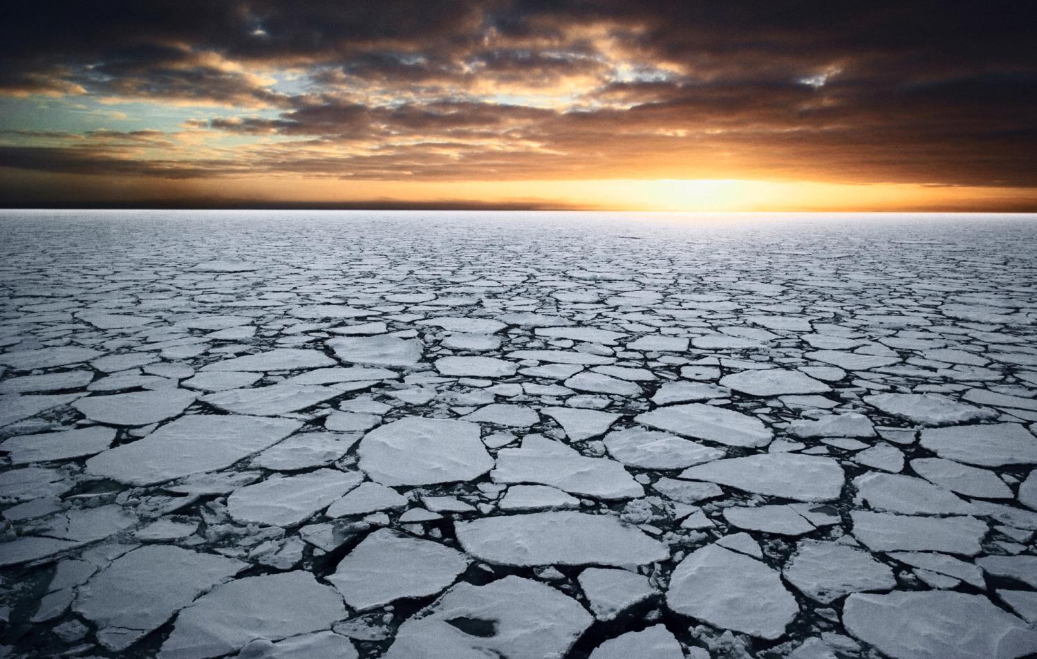 Sea ice broken into small pieces with sunrise in the background.