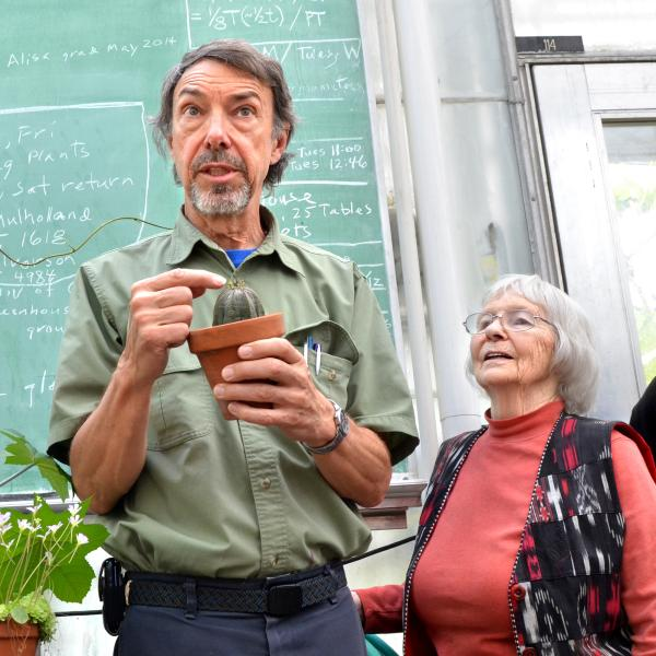 man talking about plant