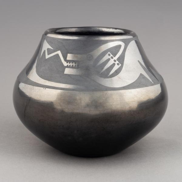 Pot by Maria Martinez with black on black design