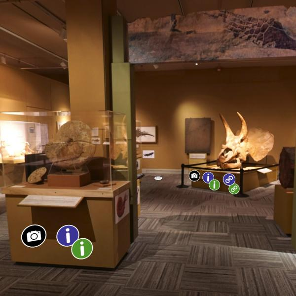 paleo hall with clickable icons in 3D virtual space