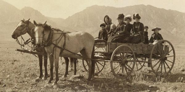 Jennie Pruden and other local women in the Pruden wagon.