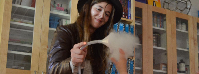 CU Teach student shares dry ice fog with child