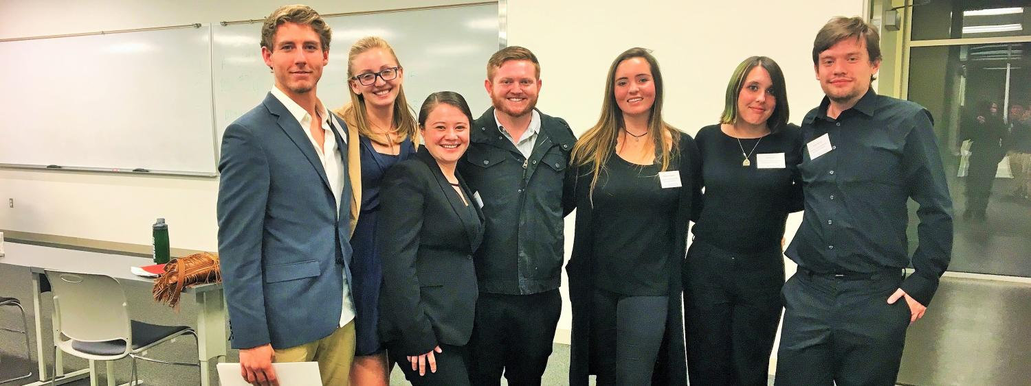 CU philosophy graduate student and Ethics Bowl coach Zak Kopeikin (center) with the 2016-17 CU Ethics Bowl team