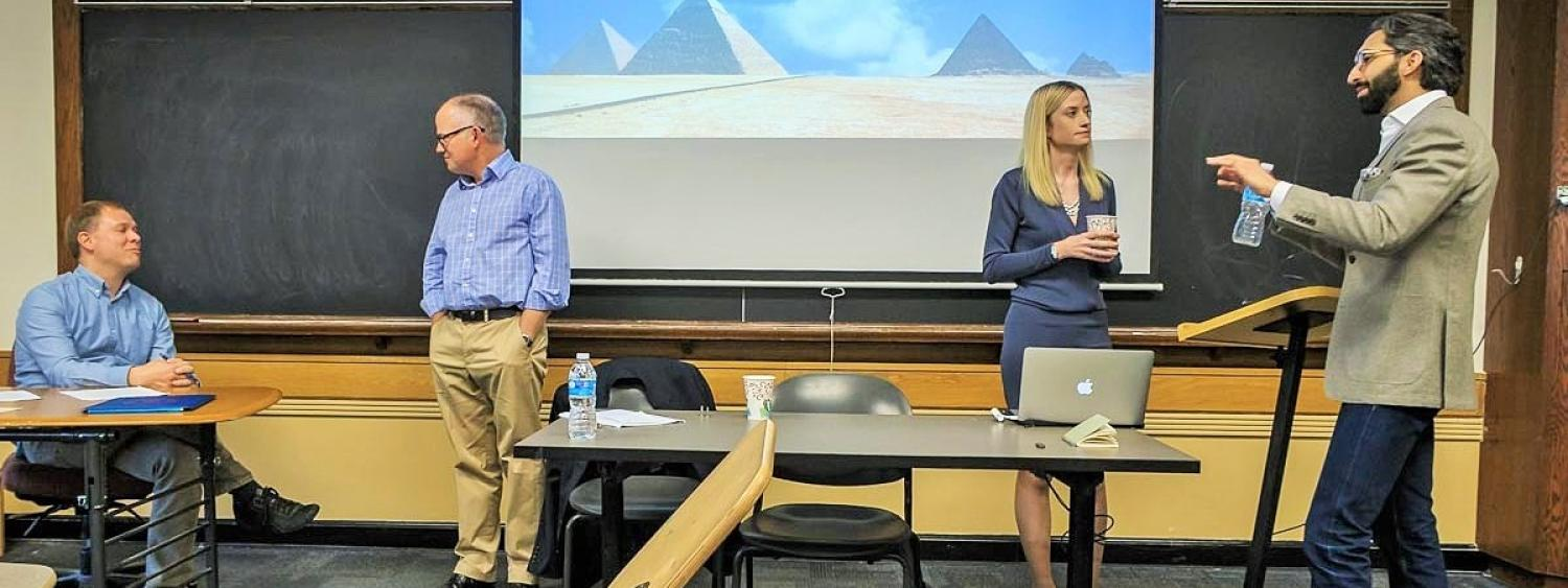Mark Jensen (USAF), Derek Matravers (Open University), Helen Frowe (Stockholm), and Adil Haque (Rutgers Law) at the 2017 Morris Colloquium on Cultural Property and the Ethics of War