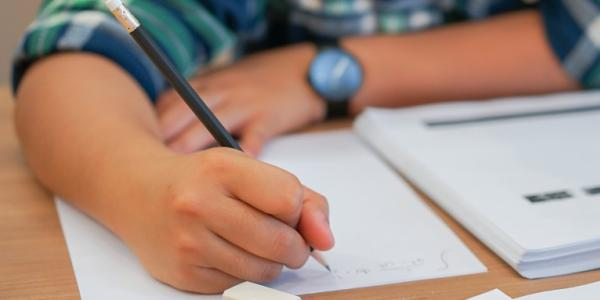 student working on a test