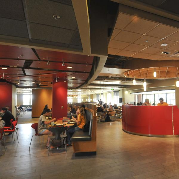 Students eating in C4C dining