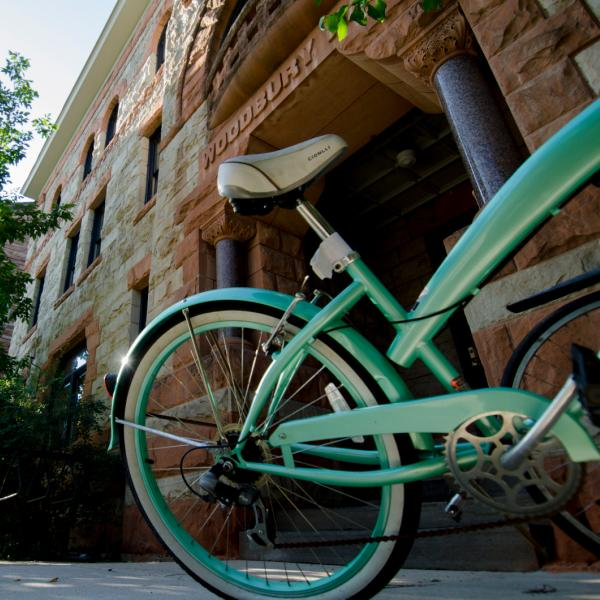 Bicycle leaning outside Woodbury building
