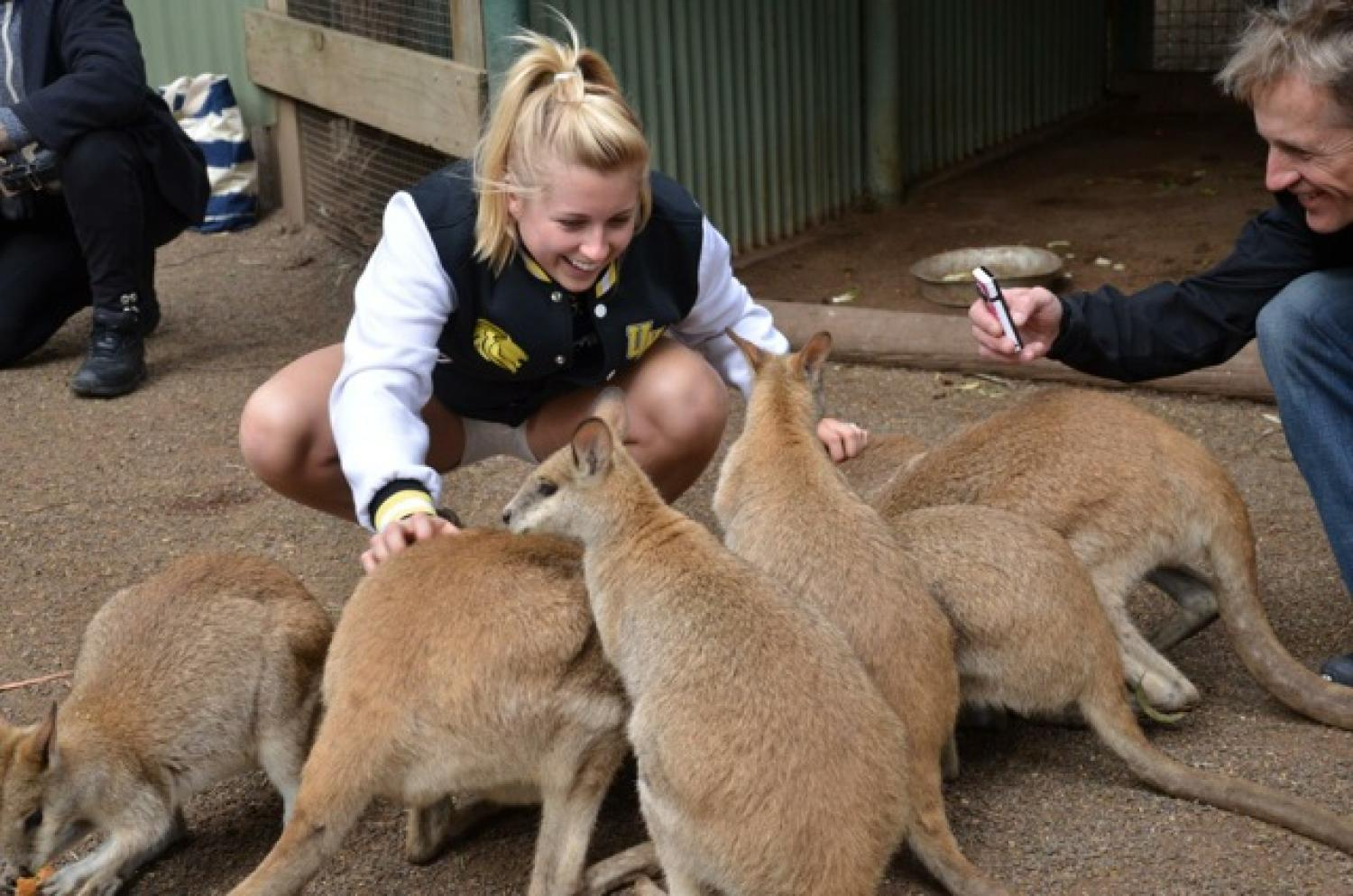 Photo of a student with a group of wallabies.