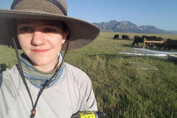 Julie Larson in the field