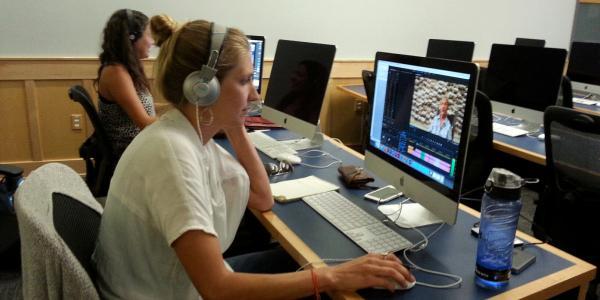 Sara Berkowitz and Angela Earp editing film projects