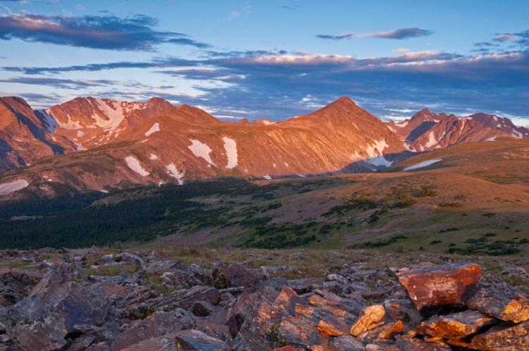Niwot Ridge in sunset wide shot with mountain background