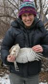 alex holding an owl