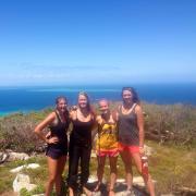 EBIO students posing in front of ocean backdrop wog wog forest, Australia