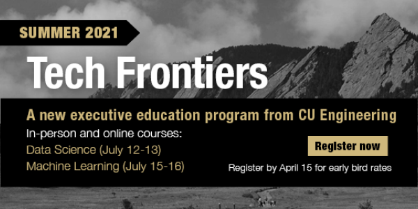 Graphic with the dates for two Tech Frontiers summer sessions on data science and machine learning